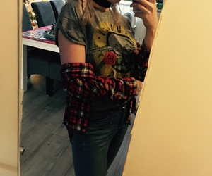 fashion, flannel, and ripped jeans image
