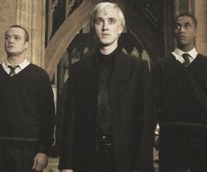 slytherin, draco malfoy, and hogwarts image