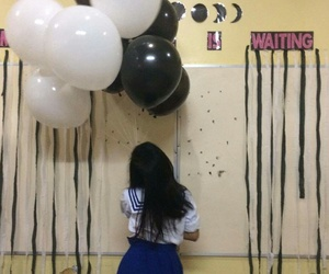 balloons, schoolgirl, and black and white image