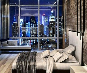 bedroom, city, and home image