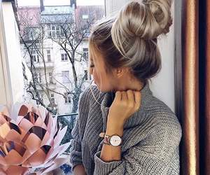 blonde, hair style, and bun image