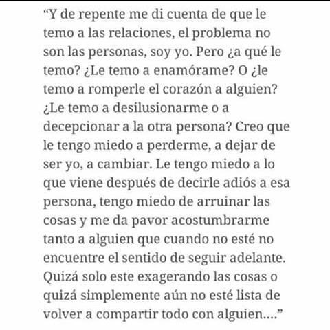 Y Me Di Cuenta Que Le Temo A Las Relaciones On We Heart It