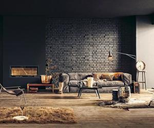 black, brick wall, and living room image