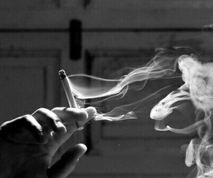 smoke, cigarette, and black and white image