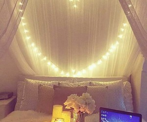 bedroom, lights, and heart image