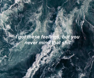 background, ocean, and song lyrics image