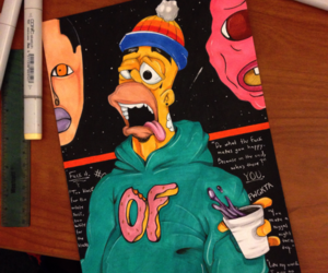 drawing, homer, and simpsons image