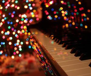piano, light, and christmas image