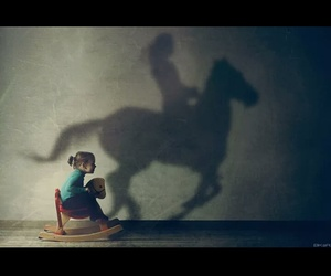 child, horse, and deep image