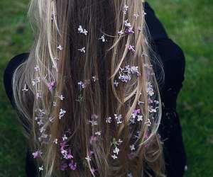 hair, flowers, and indie image