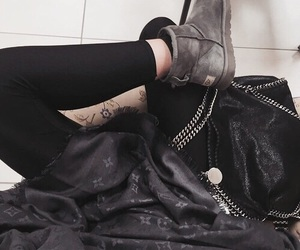 black, uggs, and louis vouitton image