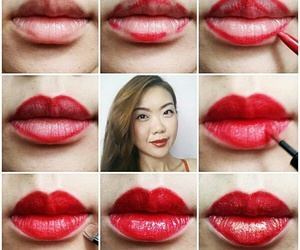lips, tutorial, and makeup image