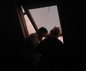 girls, roof, and window image