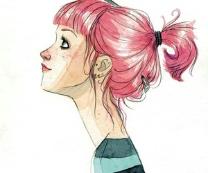 illustration, bird, and hair image