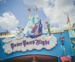 disney world, mickey mouse, and peter pan image