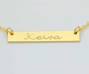 etsy, engraved jewelry, and gold bar necklace image