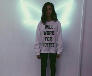 girl, angel, and coffee image