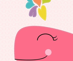 wallpaper, pink, and whale image