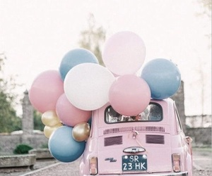 pink, car, and balloons image