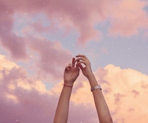 aesthetic, clouds, and hands image