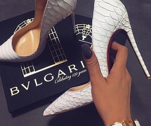 shoes, heels, and bvlgari image