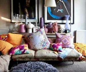 home decor, eclectic decor, and decorative pillows image
