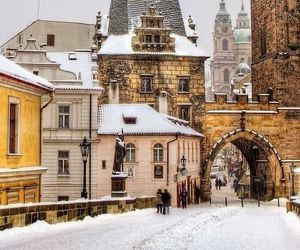 winter, snow, and prague image