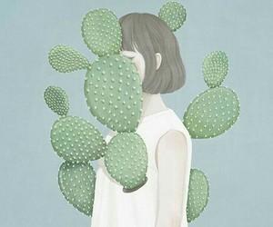girl, art, and cactus image