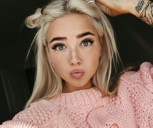 arm tattoos, straight blonde hair, and eyebrow goals image