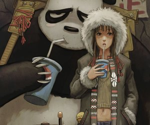 panda, girl, and art image