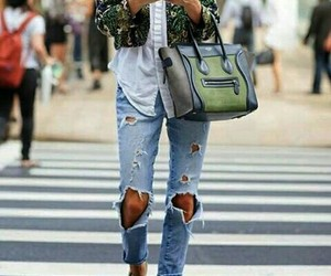 girl, celine bags, and green jacket image