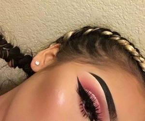 blush, eyelashes, and glitter image