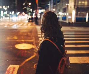 girl, night, and street image