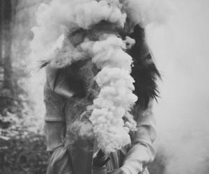 smoke, black and white, and grunge image