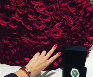 flowers, watch, and girl image