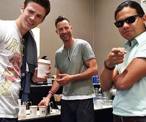 the flash, grant gustin, and tom cavanagh image