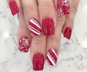 candy cane, christmas, and mani image
