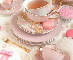 pink, tea, and food image