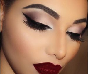 eyeliner, makeup, and lipstick image