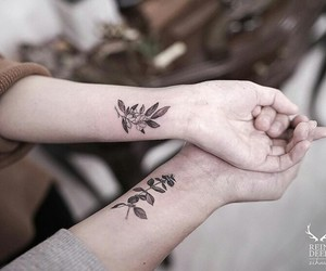 couple, flowers, and ink image
