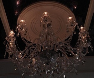 chandelier, theme, and dark image