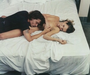 bed, johnny depp, and woman image