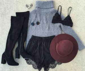 black lace bra, burgundy hat, and black knee high boots image