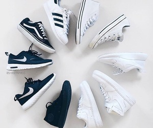 nike, adidas, and black and white image