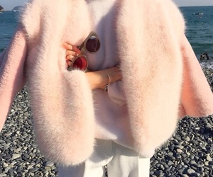 coat, pink, and sea image