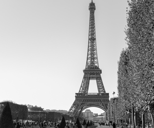 adventure, black and white, and eiffel tower image