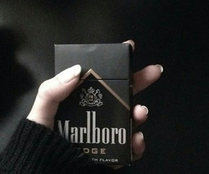 black, marlboro, and cigarette image