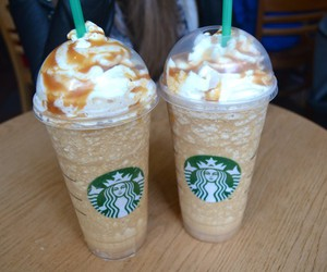 caramel, cream, and frappuccino image
