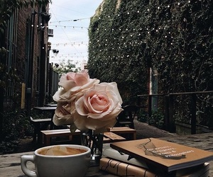 books, coffee, and roses image