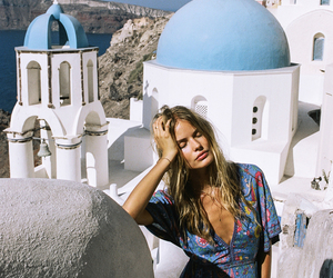 girl, blue, and Greece image